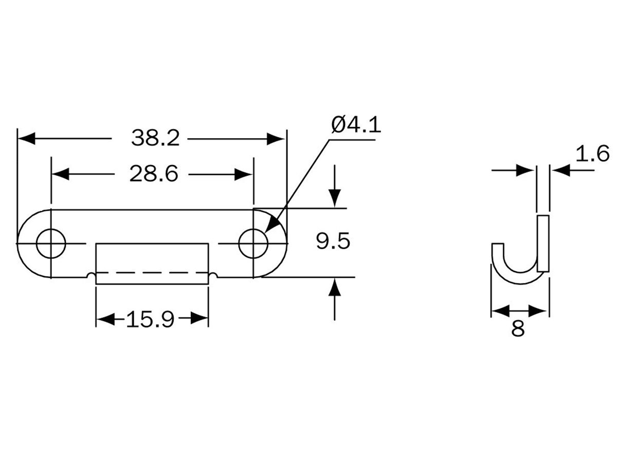 18 Series - Catchplate - Type 1 dimension guide