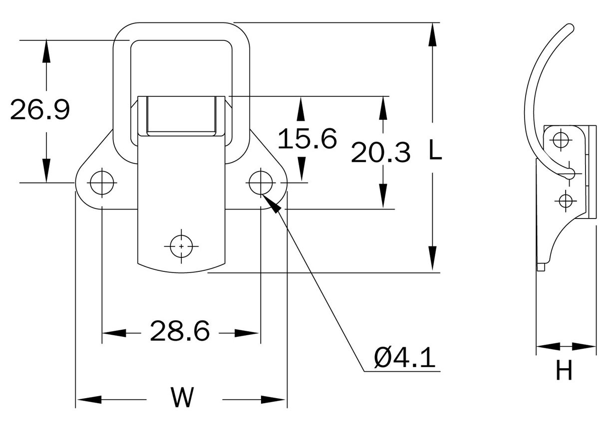 18 Series - Spring Claw Latch dimension guide