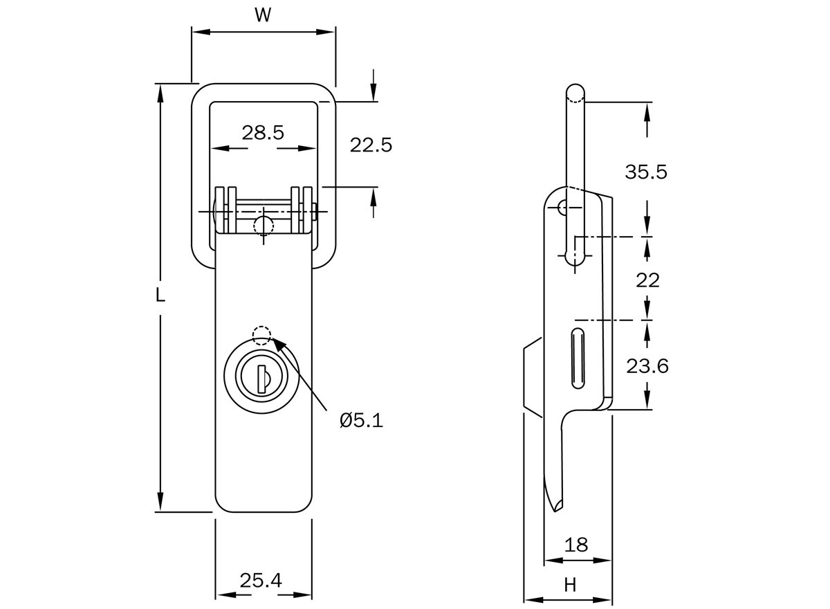 37 Series - Rigid Latch - Lockable Version dimension guide