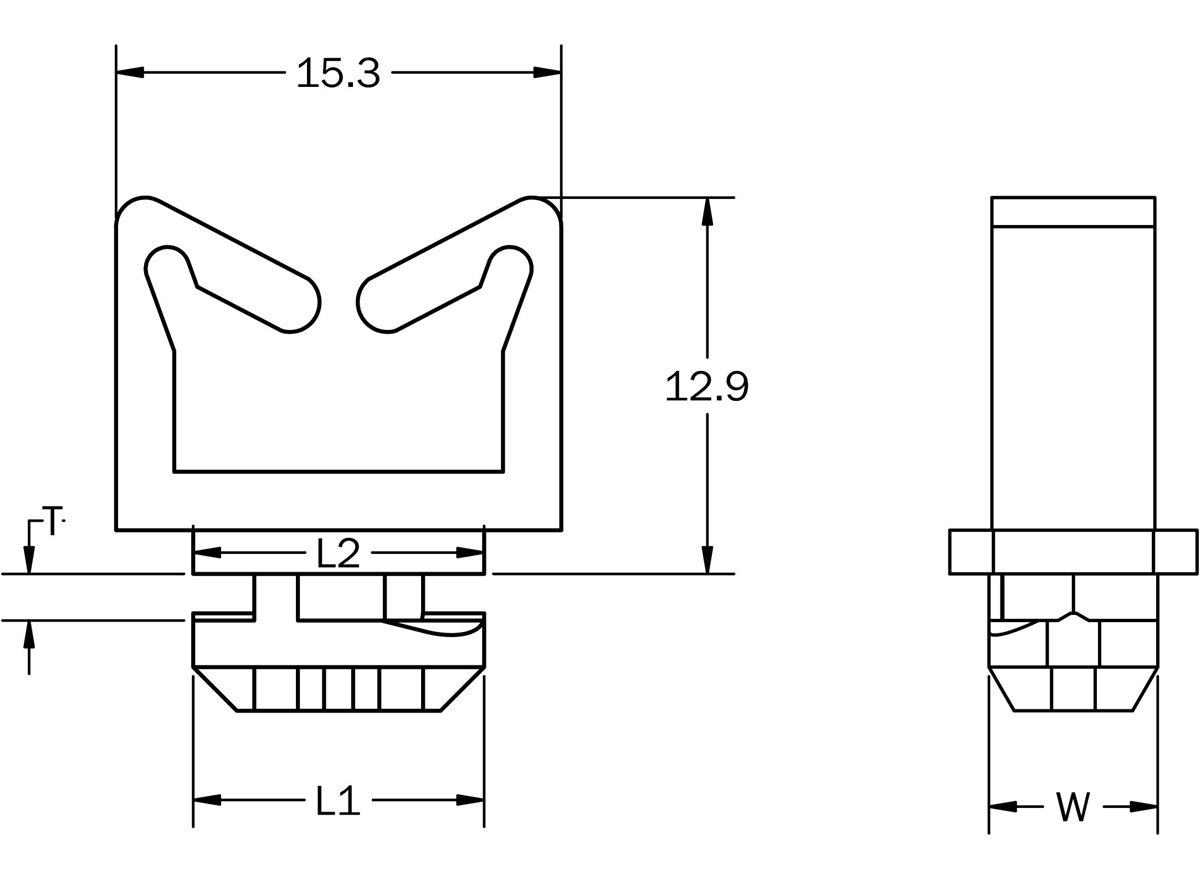 Cable Mounting Clips dimension guide