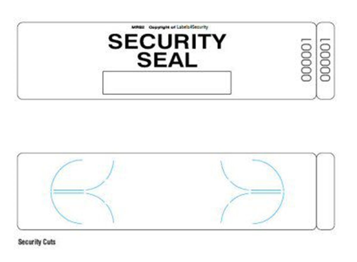 Security Labels | Stretch Vinyl Frangible | MRS2  dimension guide