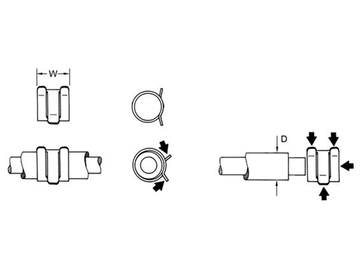 Spring Hose Clamps dimension guide