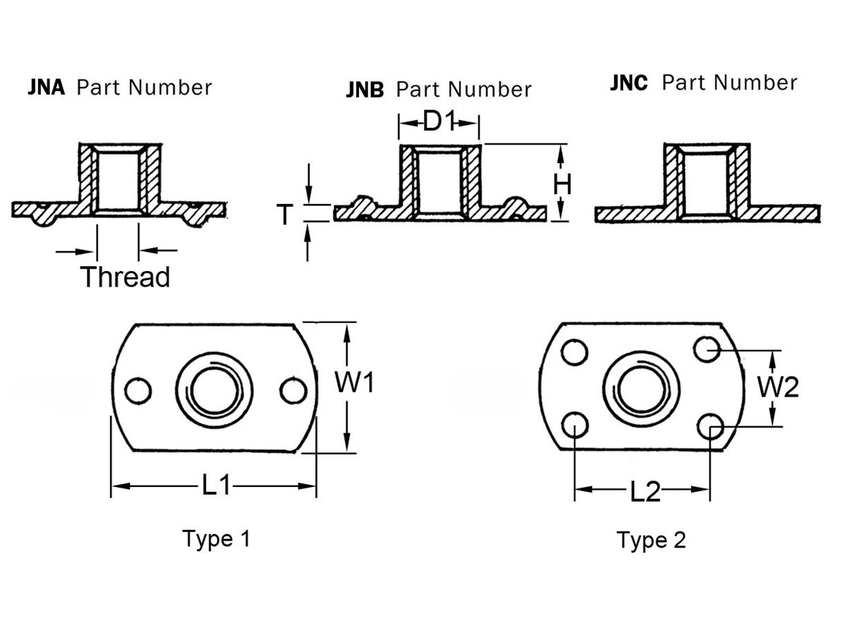 Weld Nuts / T-Nuts - Stainless Steel dimension guide