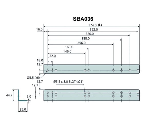 Technical Drawing for Accuride SBA036