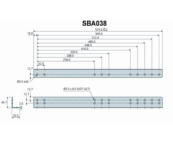 Technical Drawing for Accuride SBA038